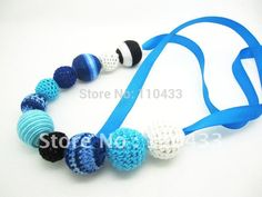 Themed necklace Cotton Knitted NECKLACE - OCEAN Crocheted Beads knit ball necklace Winter trends NW416