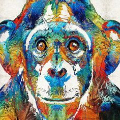 Chimp Art PRINT Colorful Animal Rainbow Zoo Primary Color Funny Freaky Chimpanzee Monkey Toy Play Adult Primate CANVAS…