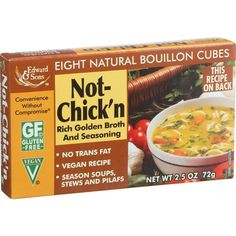 Edwards and Sons Natural Bouillon Cubes - Not Chick n - 2.5 oz - Case of 12 - Rich golden broth and seasoning. No trans fat Vegan recipe Season soup, stews and pilafsIngredients: Serving Size: 1/2 cube (4.5 g ) Servings per Container: 16 Amount Per Serving % Daily Value† Calories 20 Calories from Fat 15 Total Fat 1.5 g 2% Saturated Fat 1 g 3% Trans Fat 0 g Cholesterol 0 mg 0%Sodium 810 mg 34%Total Carbohydrate 0 g 0% Dietary Fiber 0 g 0% Sugars 0 g Protein Organic: NA Gluten Free: Gluten…