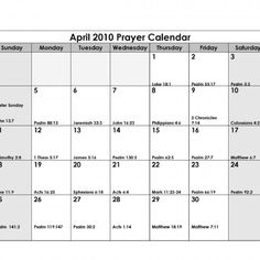 Previous Prayer Calendar ~ April 2010