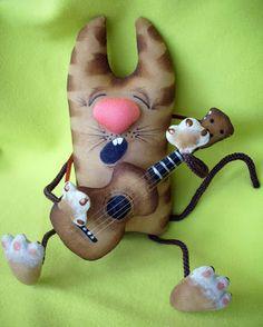 Сказки у камина...: МК Кот с гитарой. Часть 1(1).  Если Вам нравится такой Котяра - давайте сделаем его вместе!