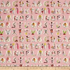Alexander Henry Monkey's Bizness Watch Me ABC Pink from @fabricdotcom  Designed by the De Leon Design Group for Alexander Henry, this cotton print fabric spells out the the alphabet with vibrant colors and girls striking poses. Perfect for quilting, apparel and home decor accents. Colors white, black, shades of brown and pink, nude, orange, yellow, shades of blue, taupe, purple and neon yellow.