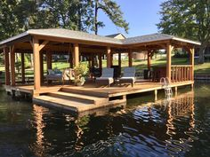 The Boathouse: a new definition to lakefront living! Rustic House Plans, Lake House Plans, Rustic Lake Houses, Lake Dock, Boat Dock, Docks Lake, Patio Pergola, Backyard, Lake Landscaping