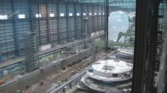 Ovation of the Seas and construction blocks for Ovation of the Seas at Meyer Werft August 17 2015