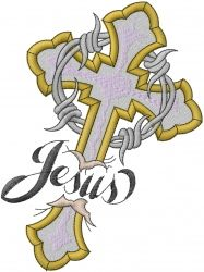 Letters Embroidery Design: Jesus Cross With Thorns from Machine Embroidery Designs