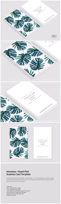 Monstera   Pastel Pink Business Card by The Design Label on @creativemarket. If you like UX, design, or design thinking, check out theuxblog.com podcast https://itunes.apple.com/us/podcast/ux-blog-user-experience-design/id1127946001?mt=2