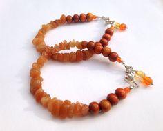 Orange Aventurine  Gemstone Chips Bracelets by ZhiJewelry on Etsy