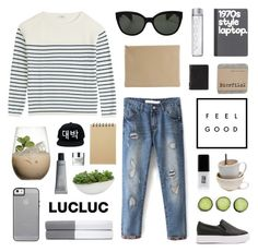 """LucLuc 4.7"" by jesicacecillia ❤ liked on Polyvore featuring Closed, JINsoon, Ralph Lauren Home, ASOS, Oliver Peoples, Arts & Science, Margarita, Muji, Distinctive Designs and Clinique"