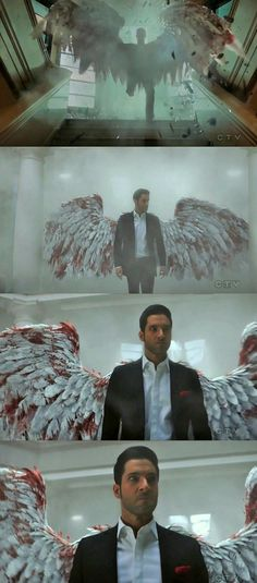 Lucifer knows how to make a good entrance – filmscenes Lauren German, Lucifer Wings, Supernatural, Dramas, Foto Gif, Tom Ellis Lucifer, Morning Star, Film Serie, Fanart