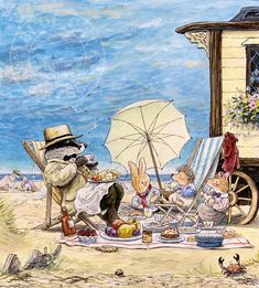 """Relaxing at the Beach by Brian Paterson. This illustration featured in """"The Foxwood Smugglers"""" by Brian and Cynthia Paterson. Picture Illustration, Art Prints, Illustrators, Watercolor Animals, Painting, Cute Pictures, Illustration Art, Art, Fairy Tales"""