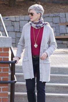 st. john knits cardigan, ralph lauren sweater, ann taylor denim, marc fisher booties, j.crew scarf