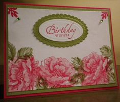 Birthday Wishes~!   SU Stippled Blossoms, Sincere Salutations Ink: Old Olive, Regal Rose, Pixie Pink Read more: http://www.splitcoaststampers.com/gallery/photo/2474913#ixzz2rBpDXpBw
