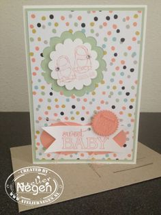 Stampin' Up! Baby We've Grown stamp set, Circle punch, Scallop Circle punch, Large Oval punch and Starburst framelits dies...By Atelier Negen