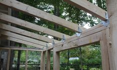 lean to roof framing Curved Pergola, Deck With Pergola, Pergola Shade, Pergola Patio, Pergola Plans, Pergola Kits, Pergola Ideas, Patio Roof, Patio Ideas