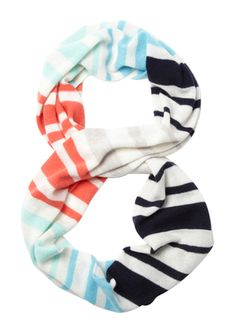 FORTE CASHMERE Ivory Multi 100% Cashmere Striped Infinity Scarf