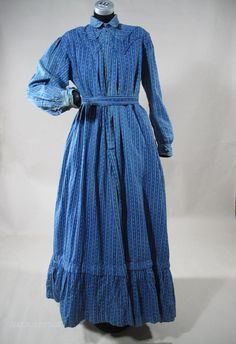 1890s Blue Calico Winter Day Dress With Gingham Apron I wish we could dress like this all the time. Bring back Victorian times & Prairie styles.