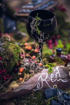 Red Riding Hood Noir Wedding Inspiration Shoot // dark, woodsy table decor with hand lettered details // photo: Nerinna Studios