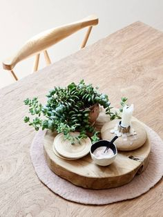 Chic and practical table centerpiece for home: plant, candle, coasters, salt