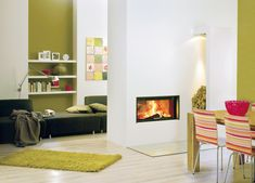 Caminetto Varia A-FDh - Spartherm Double Sided Fireplace, Small Fireplace, Home Fireplace, See Through Fireplace, Fireplace Inserts, Living Room Remodel, Open Plan Living, Living Room Inspiration, Living Area