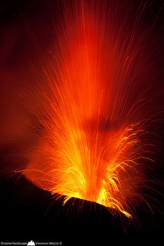Lava Fountain of Stromboli Volcano, Italy.  Explosion! by Vincenzo Mazza, via 500px