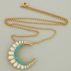 14K gold, opal and turquoise crescent moon necklace