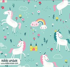 A children's pattern i licensed recently. Unicorn Illustration, Pattern Illustration, Children's Book Illustration, Unicorn Art, Rainbow Unicorn, Dragons, Stoff Design, Watercolor Fox, Unicorns And Mermaids