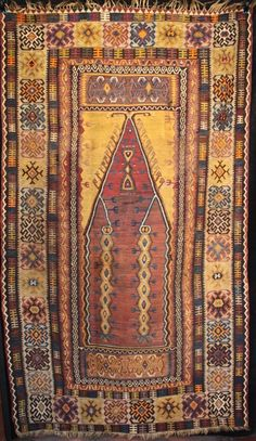 Large antique Anatolian prayer kilim from Yahyali, early Century Persian Carpet, Persian Rug, Turkish Rugs, Diy Carpet, Rugs On Carpet, Carpet Squares, Asian Rugs, Antique Collectors, Cheap Rugs