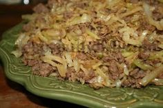 Stir Fried Cabbage with Ground Beef and Rice
