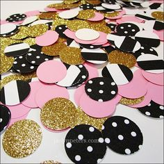 Paris or ballerina theme party tables will sparkle in pink, gold glitter and black and white stripes and polka dots. Add an instant pop of color to reception and dessert tables at bridal showers or bi Paris Birthday Parties, Slumber Parties, 10th Birthday, Baby Shower Parties, Surprise Birthday, Paris Bridal Shower, Paris Baby Shower, Bridal Showers, Paris Prom Theme