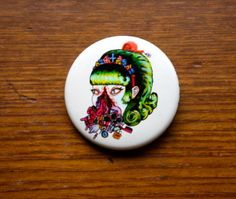 1.5 Teenage Girl Artist Pinback Button Limited by PenelopeMeatloaf, $2.45