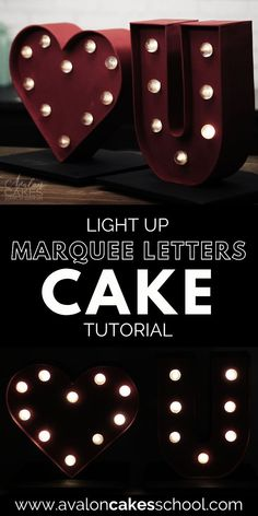 Looking for a unique valentine's day cake design (or a very special galentine's day treat) to add to your bakery menu this year? Check out our light up marquee letter cake for for intermediate and professional cake decorators and cake artists. We'll even show you how to make sugar poured sugar light bulbs that really light up! Avalon Cakes School has hundreds of cake tutorials, cookie tutorials, and cake decorating masterclasses.