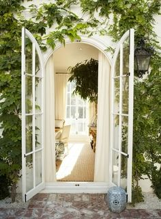 Climbing Ivy - Exterior Ideas - Patio Balcony - French Doors - Window Frame - Home Design Arched Doors, The Doors, Windows And Doors, Pvcu Doors, Sliding Doors, Closet Doors, Entry Doors, Wood Doors, Arched Windows