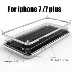 Para apple iphone 7 cubierta cajas del teléfono de lujo de aluminio del metal borrar contraportadas marco de aluminio para el iphone 7 plus a prueba de golpes case