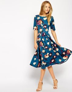 Closet | Closet Scuba Midi Dress in Floral Print at ASOS
