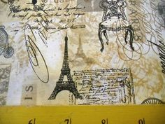 "BURGUNDY RED PARIS Eiffel Tower 100/% COTTON FABRIC LINEN LOOK 44/""W BTY"