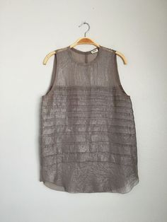 L'AGENCE Cute Sexy Sleeveless Shiny Sheer Chiffon Tank Top Blouse Shirt Mocha S  #LAGENCE #Blouse #EveningOccasion