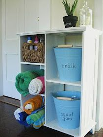 Set up a summertime station so all your Summer outdoor stuff is organized and in one spot.