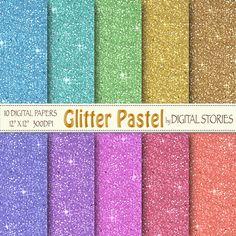 Glitter Digital Paper GLITTER PASTEL Scrapbook by DigitalStories, €2.60