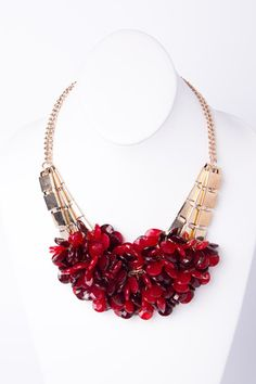 Ruby Red Statement Necklace   A-thread
