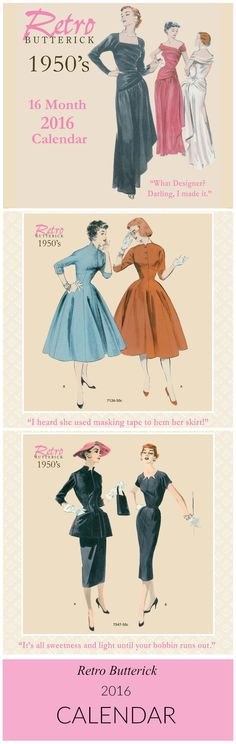 New! Retro Butterick 2016 wall calendar featuring vintage patterns from the 1950s. Perfect gift for sewers and vintage pattern lovers.