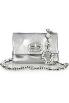 MIU MIU EMBELLISHED METALLIC LEATHER SHOULDER BAG> Wear it on your shoulder or detach the crystal-strung strap to turn it into a chic necklace and clutch combination.