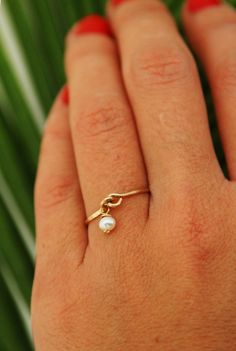 Pearl gold ring 14k gold filled ring delicate thin by AAprill, $25.00