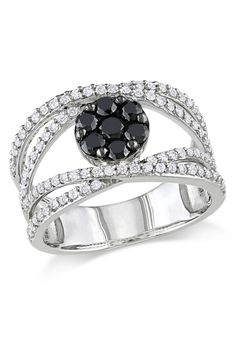 Vintage Inspired - 1 ct Black & White Diamond Vogue Ring in Silver