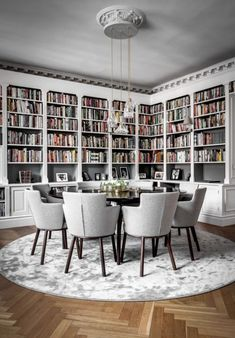 The 15 Most Beautiful Dining Rooms on Pinterest-Bookshelves in dining room-round dining table-