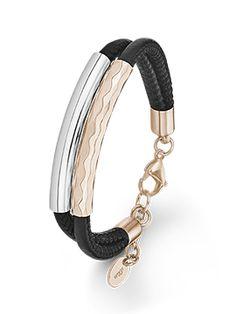 Armband aus Leder und Edelstahl, Silberfarben und Rosé. #s.Oliver #Jewel #Schmuck #Edelstahl #Armband #Kollektion #Herbst #Damen #Lieblingsschmuck