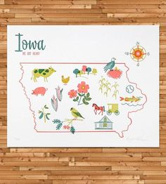 Vintage-Inspired Iowa Map Print | This vintage-inspired map series is inspired by vintage tea to... |