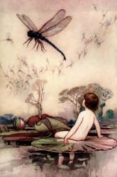 Warwick Goble - 'The thing whirred up into the air, and hung poised on its wings, ... a dragon fly, ... the king of all flies' from ''The Water-babies, a fairy tale for a Land-baby''