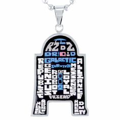 """Star Wars R2-D2 stainless steel pendant necklace with 22"""" ball chain"""
