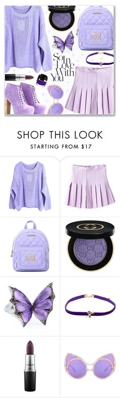 """My favorite color!"" by iambmogirl ❤ liked on Polyvore featuring WithChic, Love Moschino, Gucci, Stephen Webster, Daniela Villegas and MAC Cosmetics"
