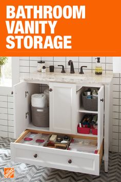 Business Ideas Discover The Home Depot has everything you need for your home improvement projects. Click through to learn more about our storage and organization offerings. Home Depot, Bathroom Renos, Bathroom Cabinets, Small Bathroom Storage, Upstairs Bathrooms, Tiny House Living, Bath Remodel, Home Improvement Projects, Home Design